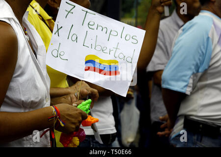 Valencia, Carabobo, Venezuela. 19th Apr, 2019. April 19, 2019. Members of the opposition held an open meeting in different cities of the country as part of the activities of the operation libertad, in order to seek the cessation of the usurpation of the office of president by Nicolas Maduro, create a transition government and carry out free elections, in order to return to the parricular democratic rhythm, said the deputies during their discrusos in the ceremony held in Santa Rosa Square, in the city of Valencia, Carabobo state. Photo: Juan Carlos Hernandez (Credit Image: © Juan Carlos Herna - Stock Image