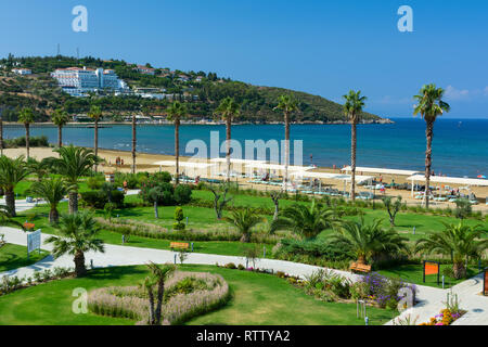 KUSADASI, TURKEY - AUGUST 21, 2017: Pamucak, Ephesus Beach. View from the Palm Wings Ephesus Beach Resort. - Stock Image