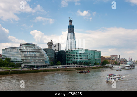 Tourist boat on river Thames with the Shard building in the background. London. UK. - Stock Image