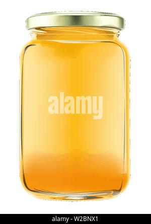 honey bee jar natural yellow dessert sweet breakfast illustration - Stock Image