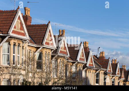 Gables and bay windows of Victorian terraced houses in Westbury Park, Bristol. - Stock Image