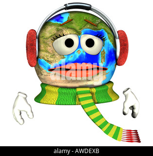 earth with earmuffs - Stock Image