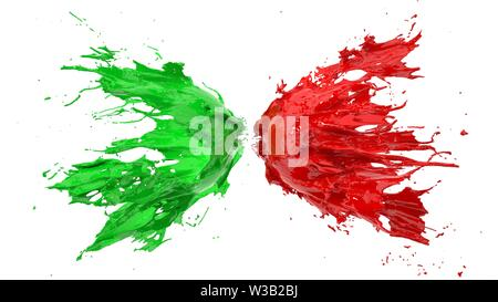 red and green fluid splash on white background. suitable for fluid, color and paint themes. 3d illustration - Stock Image