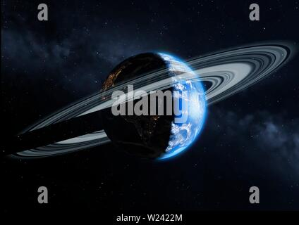 Illustration of the Earth with a ring. The planet is imagined with a ring system around its equator, like those of the giant planets. This is the view - Stock Image