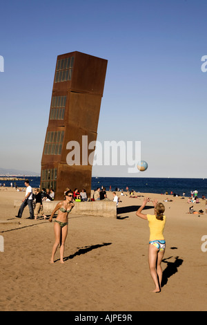 Spain Barcelona Sculpture by Rebecca Horn at Barceloneta beach volleyball - Stock Image