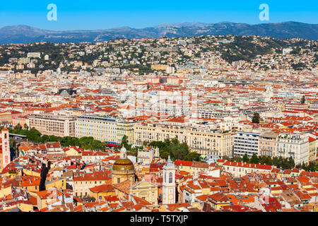Nice aerial panoramic view. Nice is a city located on the French Riviera or Cote d'Azur in France. - Stock Image
