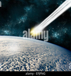 An artist's depiction of an Earth-like planet in deep space facing an imminent collision with a comet. - Stock Image