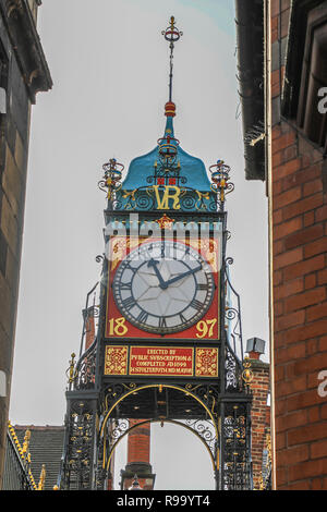 Victorian clock on Newgate, Chester, the County town of Cheshire, England, UK - Stock Image