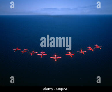 The RAF Aerobatic team, 'The Red Arrows' flying over Lake Eerie, Canada - Stock Image