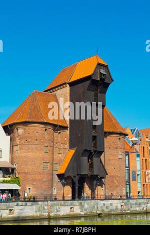 Zuraw, the Great Crane, Dlugie Pobrzeze, Motlawa riverside, central Gdansk, Poland - Stock Image