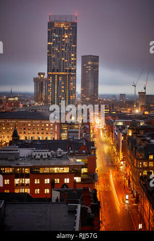 View from 125 Deansgate Looking across to Spinningfileds modern office developments with 20 Stories - Stock Image