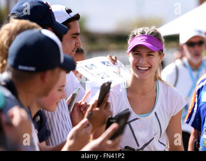 Indian Wells, California, USA. 13 March, 2016: Eugenie Bouchard of Canada signs autographs for fans during the BNP - Stock Image