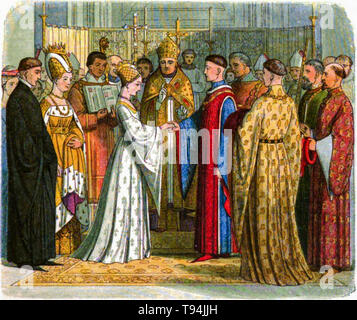 Wedding and marriage of Henry V of England to Catherine of Valois, engraving by Edmund Evans, 1864 - Stock Image