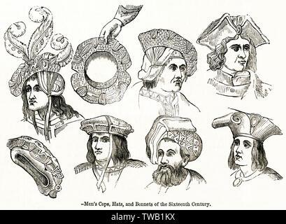 Men's caps, hats and bonnets.      Date: 16th century - Stock Image