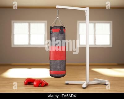 Boxing sandbag hanging on the chain inside a room. 3D illustration. - Stock Image