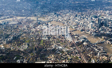Aerial view of London from the East along the Thames from Tower Bridge - Stock Image