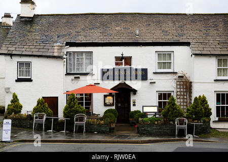 The Kings Arms public house, Hawkshead, Lake District, Cumbria, England - Stock Image