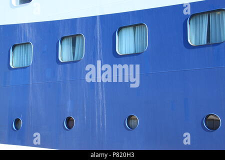 Side elevation of a cruise ship berthed in the new port at Corfu Town, Corfu, GREECE, PETER GRANT - Stock Image