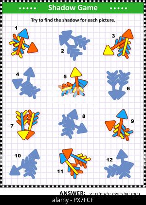 Shadow matching visual puzzle: Match the pictures of colorful arrows to their shadows. Answer included. - Stock Image