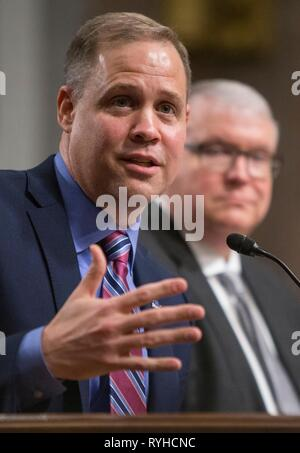 Washington, United States Of America. 13th Mar, 2019. NASA Administrator Jim Bridenstine during a hearing of the Senate Committee on Commerce, Science, and Transportation on The New Space Race: Ensuring U.S. Global Leadership on the Final Frontier, at the Dirksen Senate Office Building March 13, 2019 in Washington. DC. Credit: Planetpix/Alamy Live News - Stock Image