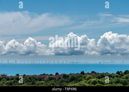 South Downs, UK. 11th June, 2019. Changeable weather conditions in the English Channel at the Rampion Wind Farm today Credit: Andrew Hasson/Alamy Live News - Stock Image