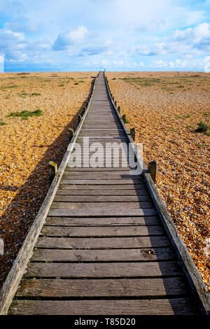 a long straight wooden decking pathway with a diminshing perspective on a pebble beach, the pathway starts large in the foreground centre of the image - Stock Image