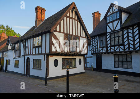 Thomas Oken house a timber framed black and white medieval building in the centre of Warwick, Warwickshire. - Stock Image