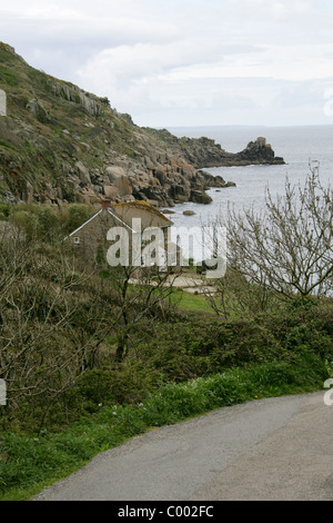 Lamorna Cove and Carn-du , Cornwall, Britain, UK - Stock Image