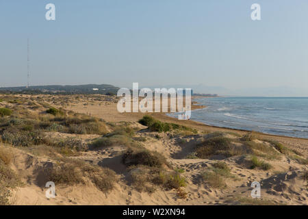 Sand dunes and beach between Torre La mata and Guardamar de Segura Costa Blanca Spain - Stock Image
