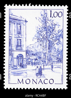 Monaco postage stamp (1991): Early Views of Monaco definitive series: Place d'Armes - Stock Image