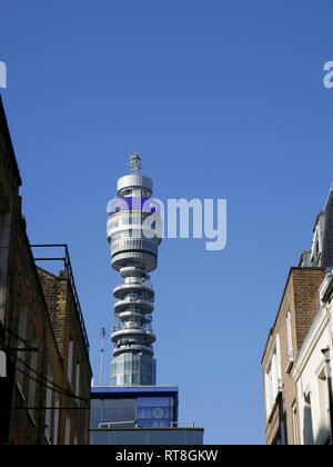 The BT Tower is a communications tower located in Fitzrovia, London, owned by BT Group. - Stock Image