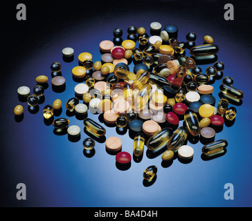 Assortment of vitamin tablets - Stock Image