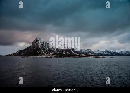 Norwegian coast close to Ornes, Norway. - Stock Image