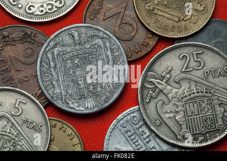 Coins of Spain under Franco. Coat of arms of Spain under Franco depicted in the Spanish 10 centimos coin (1941). - Stock Image