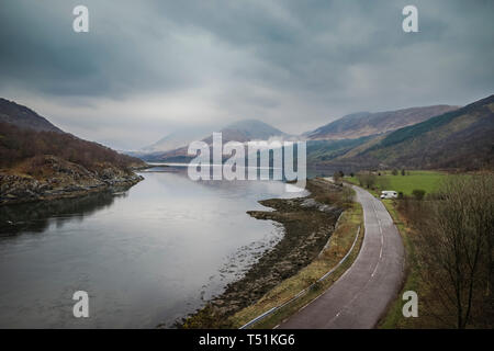 Campervan at Dallachulish between Oban and Fort William. - Stock Image