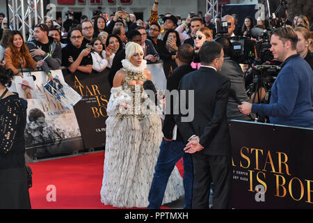 London, UK. 27th September 2018. Lady Gaga interview by TV attend A Star Is Born UK Premiere at Vue Cinemas, Leicester Square, London, UK 27 September 2018. Credit: Picture Capital/Alamy Live News - Stock Image