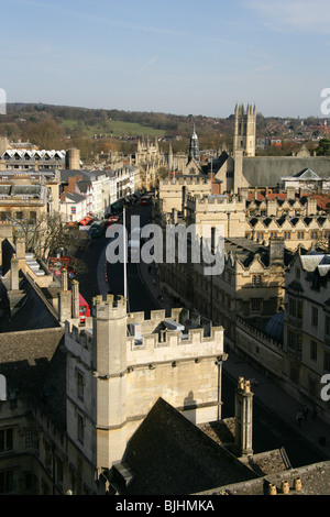 View of Oxford High Street from St Mary's Church Tower, Oxford, Oxfordshire, UK. - Stock Image