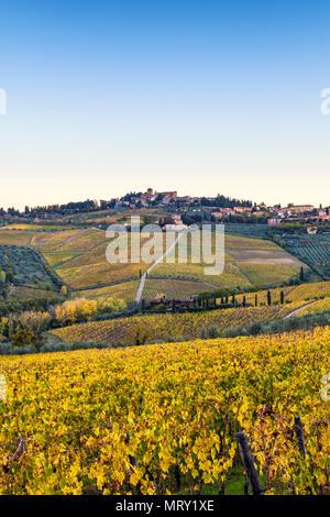 Panzano in Chianti, Florence, Tuscany, Italy. Panzano village at sunrise - Stock Image