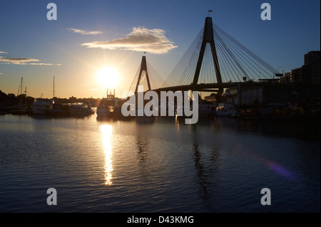 Glebe Island Bridge & Johnstons Bay, Pyrmont Sydney at sunset - Stock Image