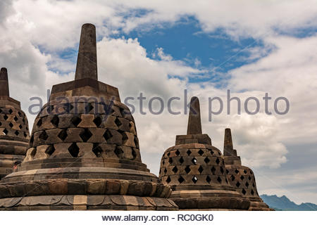 borobudur temple, traveler favorite destination. Great architecture and buddha history. Located in magelang, Indonesia - Stock Image