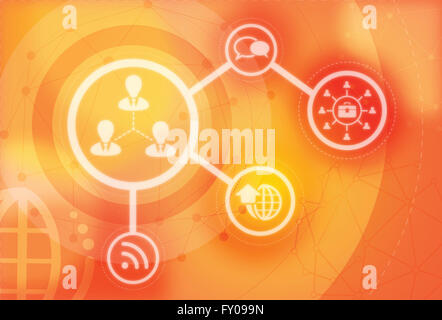 Illustrative image of networking with communication systems and technologies - Stock Image