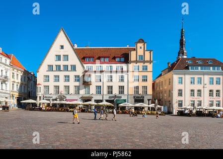 Tallinn Old Town Square, view on a  summer morning of the Town Hall Square in the medieval Old Town quarter in Tallinn, Estonia. - Stock Image
