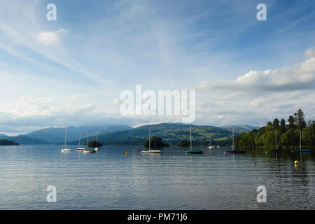 Lake Windermere looking north from Glebe Road, Bowness-on-Windermere, across Bowness Bay  towards  Wansfell Pike. - Stock Image