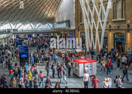 Rail Passengers,Concourse,Kings Cross Station,Euston Road,London,England,UK - Stock Image
