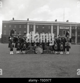 1960s, group photo of the ban members of the Shaftesbury Military Band, Belfast. - Stock Image