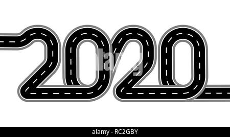 2020 New Year. The road is stylized as an inscription. Isolated On White Background. Illustration - Stock Image