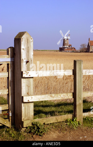 Public footpath and Cley Mill North Norfolk England - Stock Image