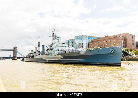 HMS Belfast war ship london, hms belfast, hms belfast river Thames london, museum ship moored on the River Thames - Stock Image