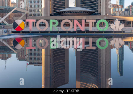 Nathan Phillips Square sign - Stock Image