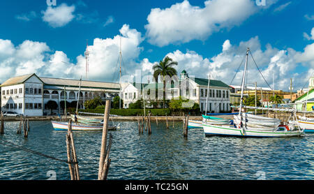 Yacht at Haulover Creek in Belize City - Stock Image